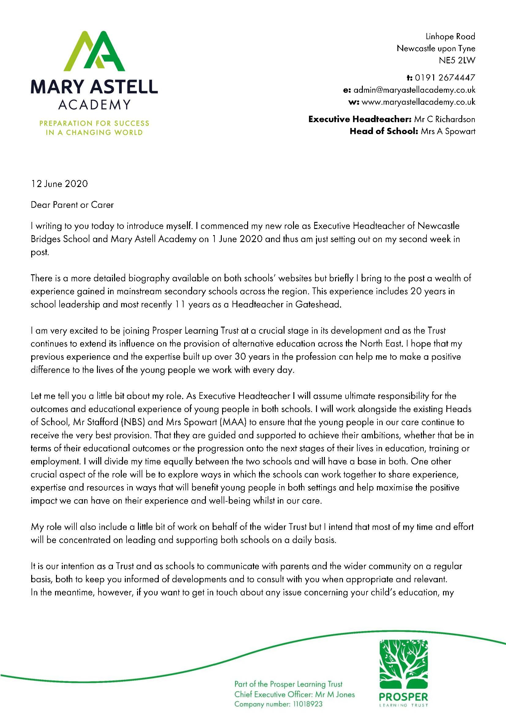 Letter from the Executive Headteacher